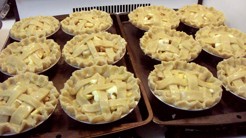 Twelve little baby pies ready to go into the oven