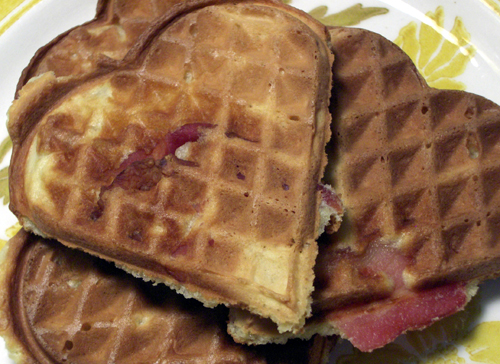 Crispy, savory, irresistable, bacon-filled waffles