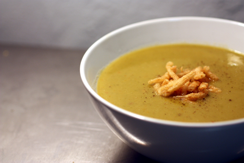 Split-pea soup with crispy onions