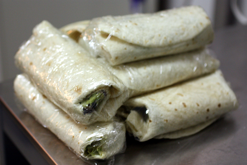 Burritos wrapped up for the freezer