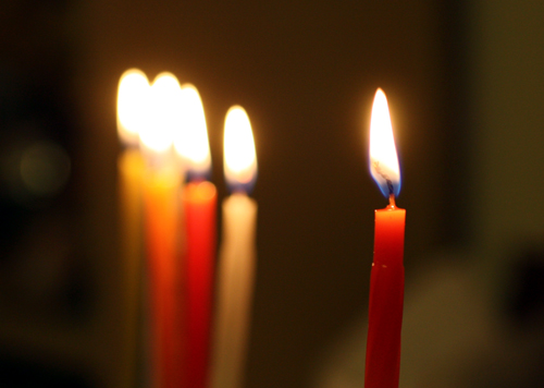 Chanukah candles burning bright on our 2nd Birthday!
