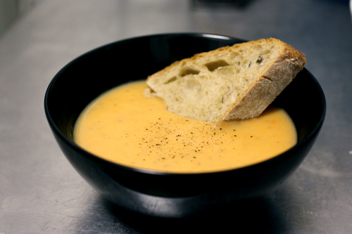 Potage with hunk of sourdough bread