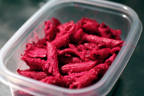 Beet and ricotta sauce on penne, ready for lunch