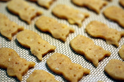 Owl Crackers with upside down faces about to head into the oven