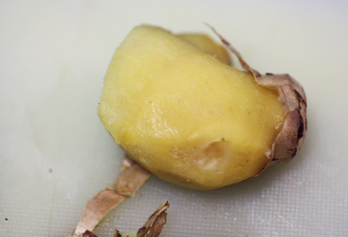 Easy peel ginger from the freezer