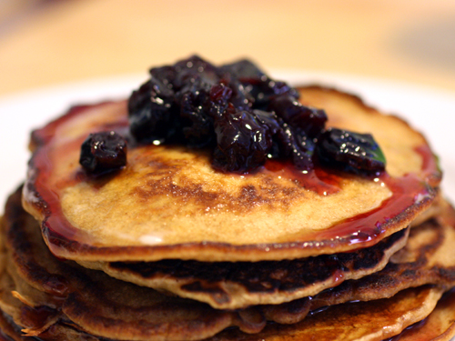 Whole Wheat Molasses Pancakes from scratch, with sour cherry preserves