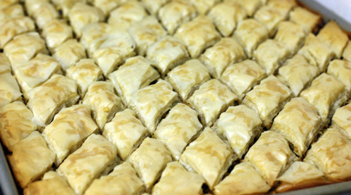 Baklava baked to a golden crisp
