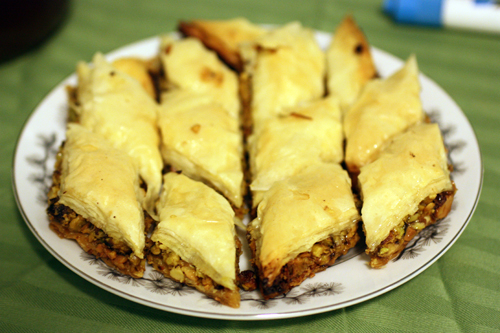 Baklava glistening with syrup