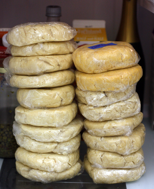 Pie dough stacked in the refrigerator