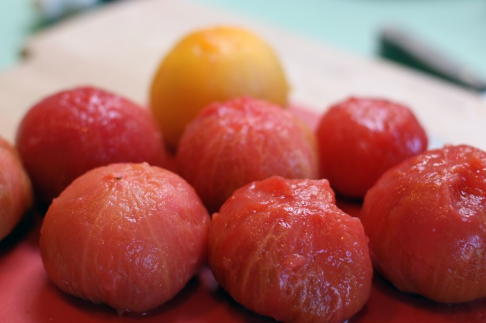 Peeled heirloom tomatoes