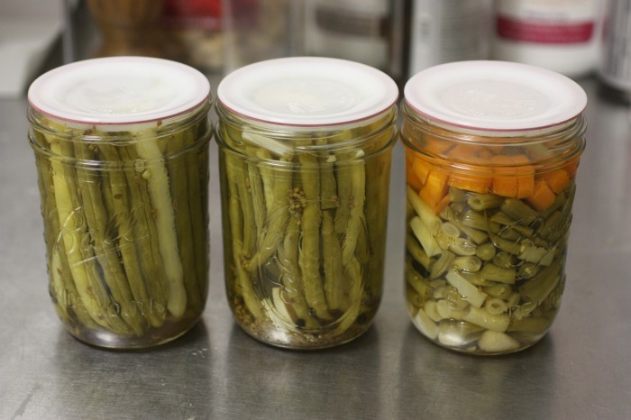 Pickled green beans, and some carrots.